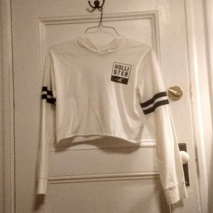 Hollister cropped white hoodie
